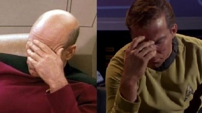 "I have no choice: this calls for the dreaded ""Kirk & Picard double-face-palm""..."