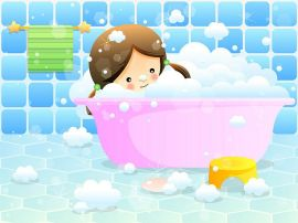 kid in bubble bath