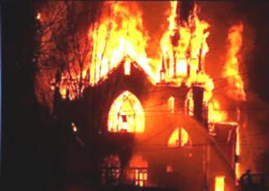 Anglican church in Pakistan, burned in September of 2012