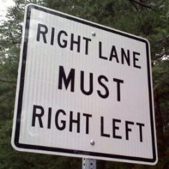 Right lane must right left 337